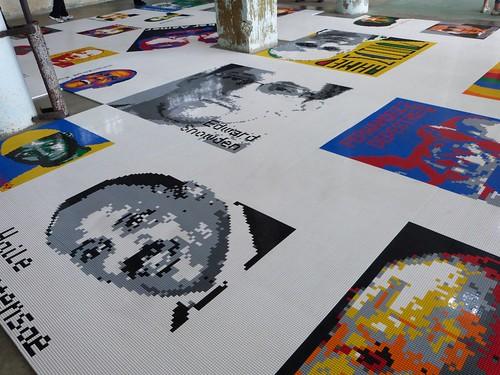 Portraits of political prisoners in Legos, Ai Weiwei exhibit, Alcatraz