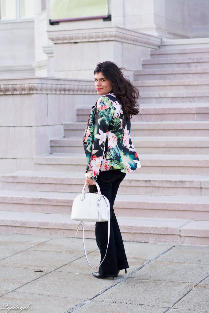 floral blazer, flared jeans, white satchel.jpg