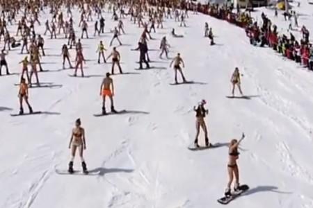 Na Sibiři padl světový rekord: 1 800 lyžařů v plavkách