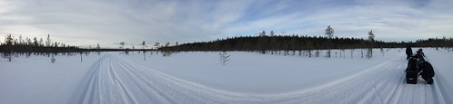 winter snow finland landscape panoramic lapland snowmobile snowmobiling