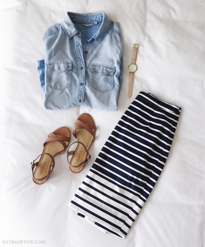 chambray shirt striped skirt small