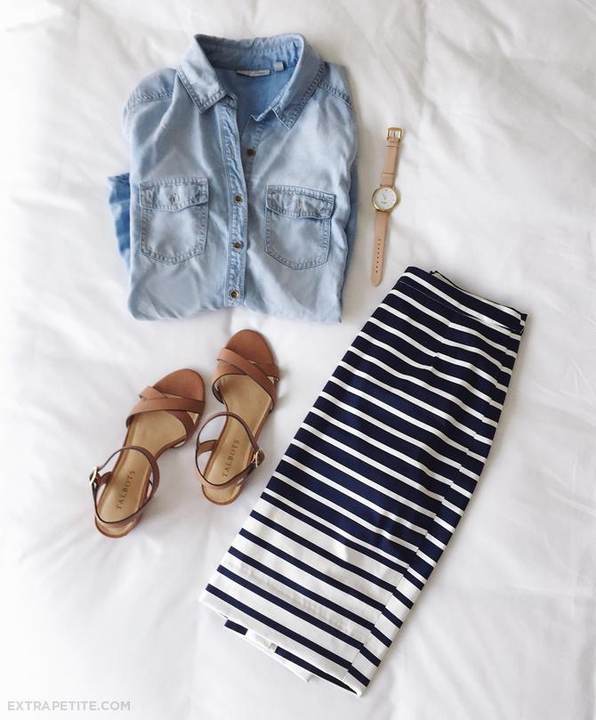 chambray shirt striped skirt small