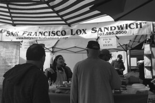 Ferry Plaza Farmers Market - Capn Mike's San Francisco Lox Sandwich queue