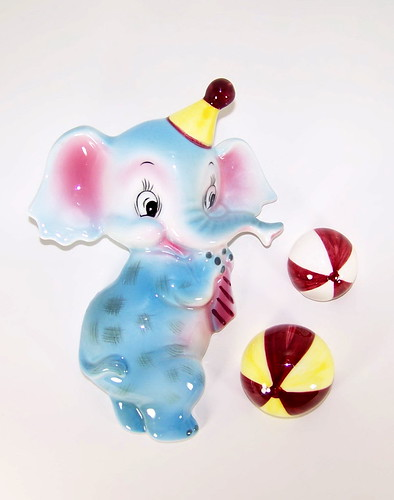 Lefton Anthropomorphic  Circus Elephant Wall Pocket with Bouncing Ball Plaques