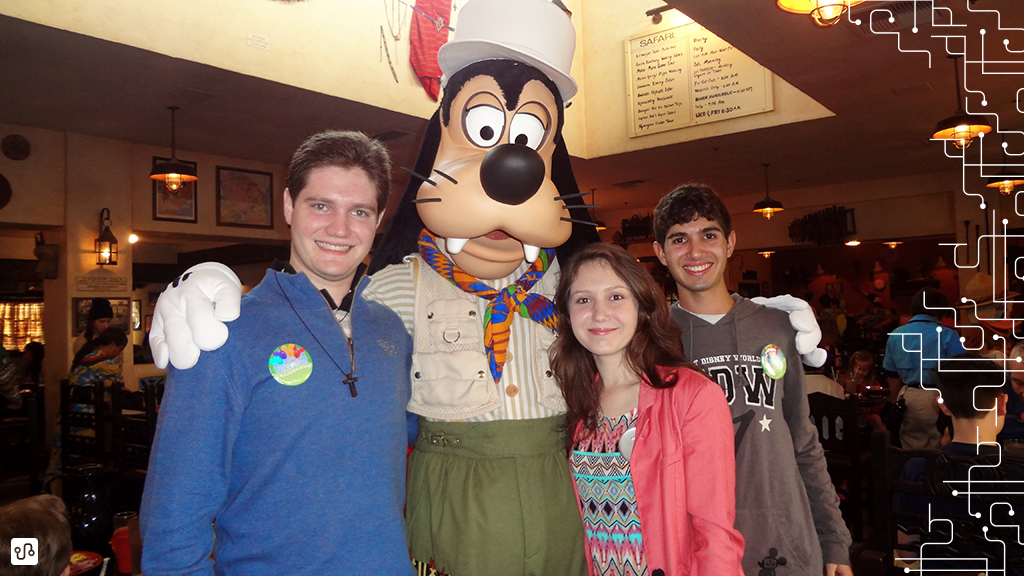 Foto com as personagens da Disney