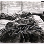 Unmade Bed; charcoal on paper, 22 x 30 in, 1987