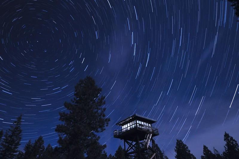 Star trails over Fivemile Butte