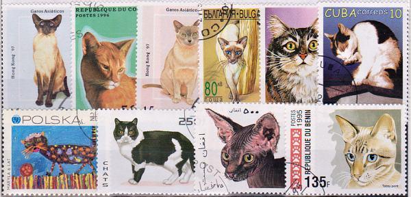 Známky tematické - 25 rôznych, mačky