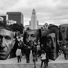 Public art installation at Grand Park in remembrance of the Armenian Genocide. Seen on the de LaB modernism tour #publicart #grandpark #dtla #cityhall #deLaB  #blackandwhite #iwitness by magicredshoes