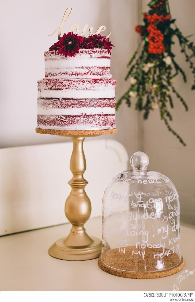 Marsala Wedding cake - naked red velvet cake