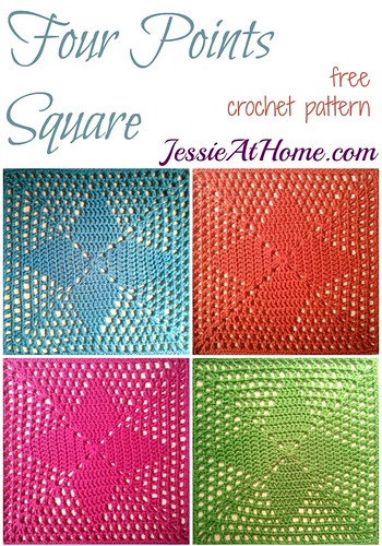 Four Points Square ~ free crochet pattern by Jessie At Home