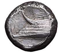 Greek coin with ship