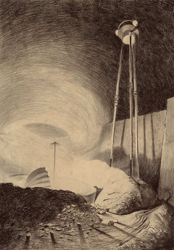 "HENRIQUE ALVIM CORRÊA -Martian Viewing Vapor Cloud, from The War of the Worlds, Belgium edition, 1906 (illustration from Book II- The Earth Under the Martians, Chapter II- ""What We Saw from the Ruined House,"")"