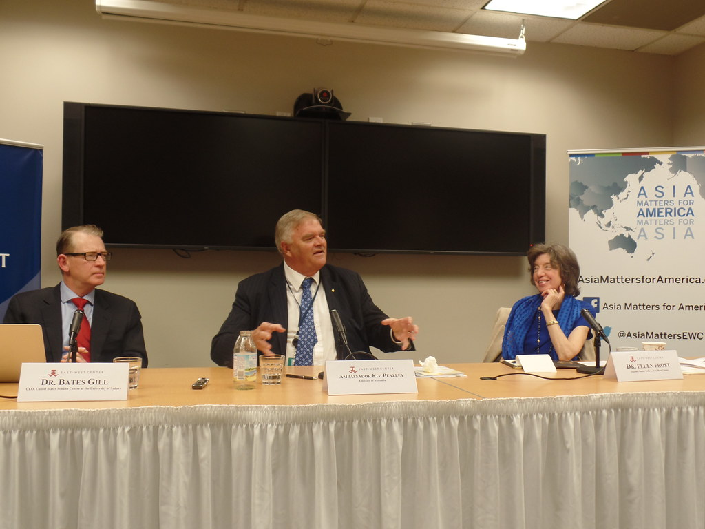 From left to right: Dr. Bates Gill, H.E. Kim Beazley, and Dr. Ellen Frost, Senior Adjunct Fellow, East-West Center