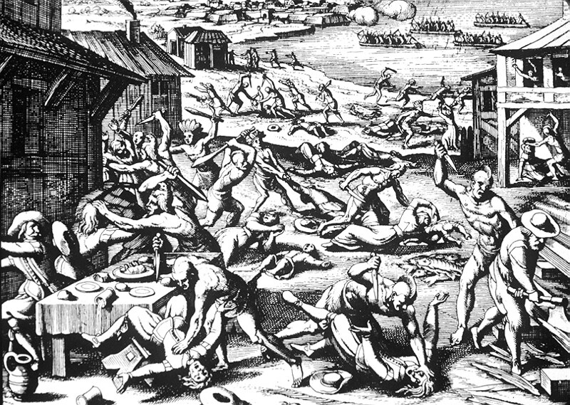 Indian massacre of 1622, depicted as a woodcut by Matthaeus Merian