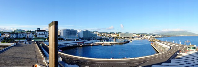 View of Ponta Delgada and beyond from the tall steps on the pier