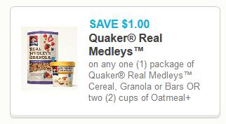 Coupon - Quaker Real medleys