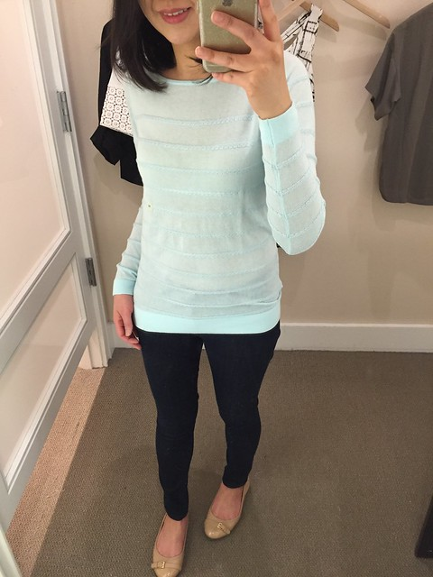 LOFT Textural Stripe Sweater in soft aqua, size XS