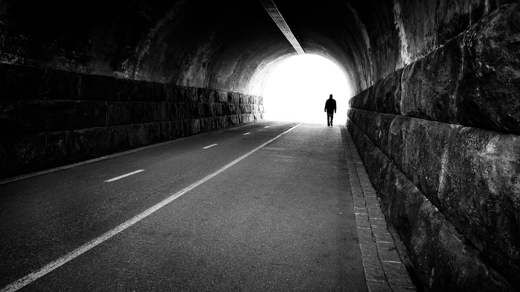Man going out of a tunnel, Helsinki, Finland picture