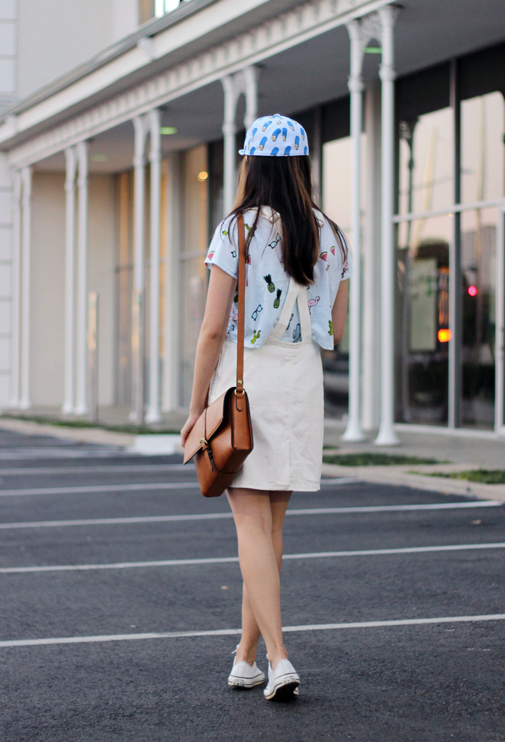 White overall with skirt