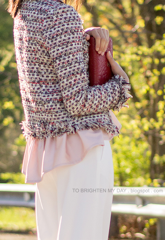 tweed jacket, pink peplum top, white trousers, red clutch