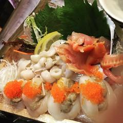 Do u like sashimi? 😍 🍣 #聖子刺身 #蟹糕帶子刺身 #赤貝刺身 #さしみ #香港 #聖子 #蟹糕 #帶子 #赤貝 #刺身