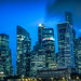 Close up of the Singapore skyline at blue hour