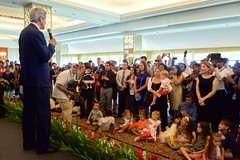 U.S. Secretary of State John Kerry addresses employees and family members from U.S. Embassy Sri Lanka on May 3, 2015, in Colombo, Sri Lanka, as the Secretary paid the first official visit to the island-nation by someone in his office in 43 years. [State Department Photo/Public Domain]