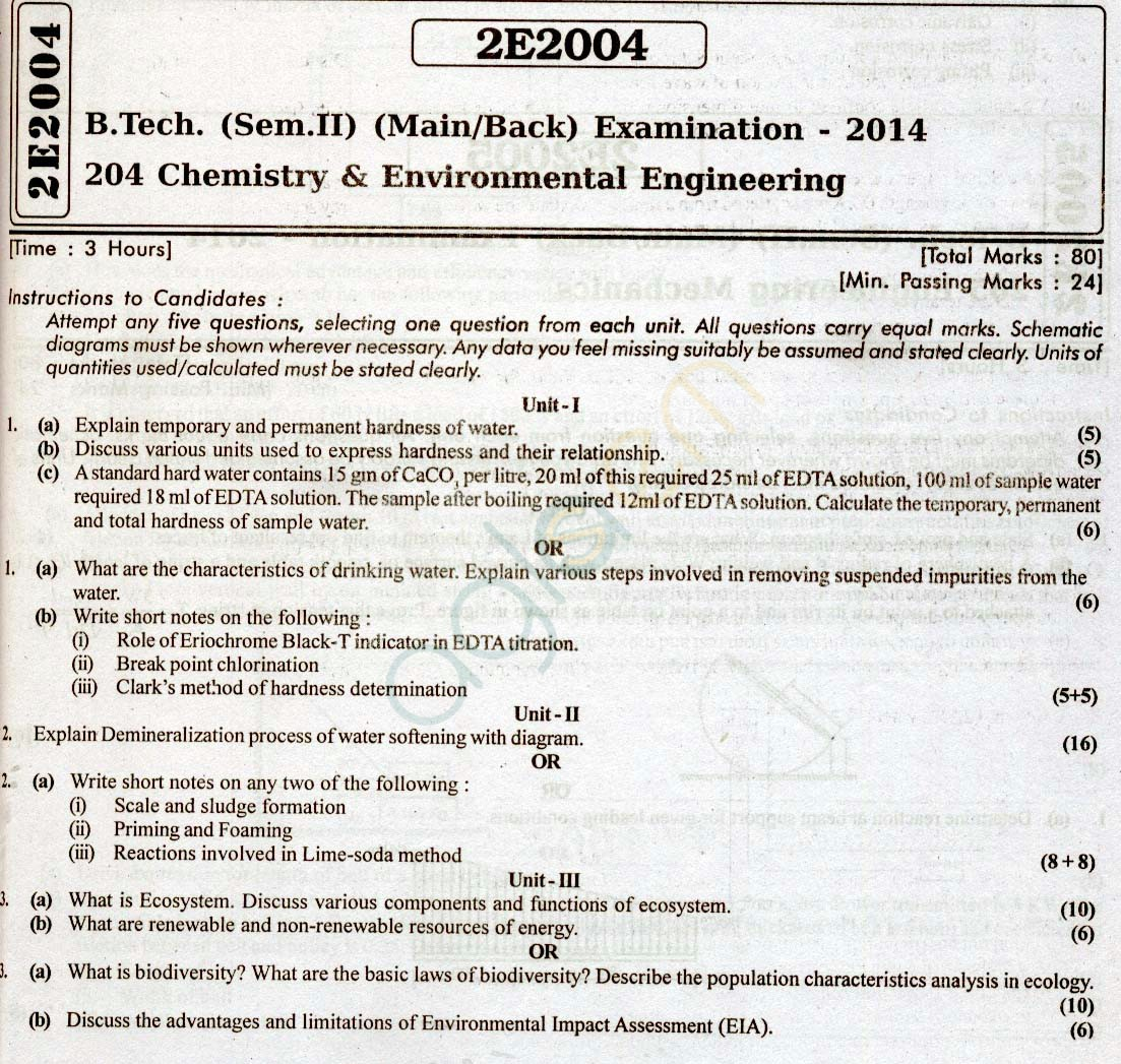 RTU: Question Papers 2014 - 2 Semester - All Branches - 2E2004