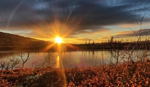 autumn sunset lake pond