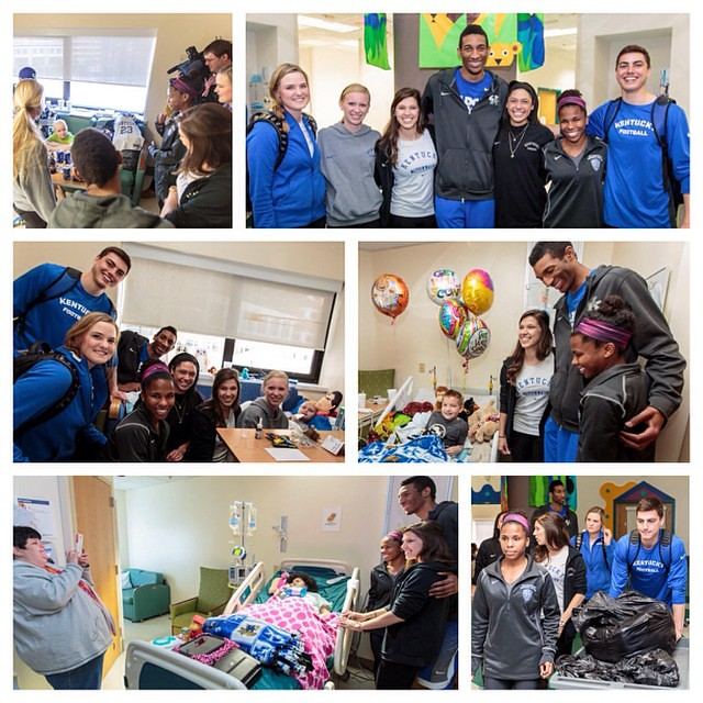 A group of UK athletes recently brought blankets & smiles to patients at Kentucky Children's Hospital. Members of UK's golf, football, soccer, tennis, track & basketball teams, who created the blankets earlier this year, were excited to visit with the kid