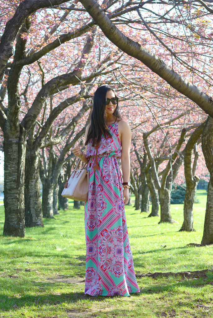 Boohoo paisley maxi dress pink & teal spring outfit