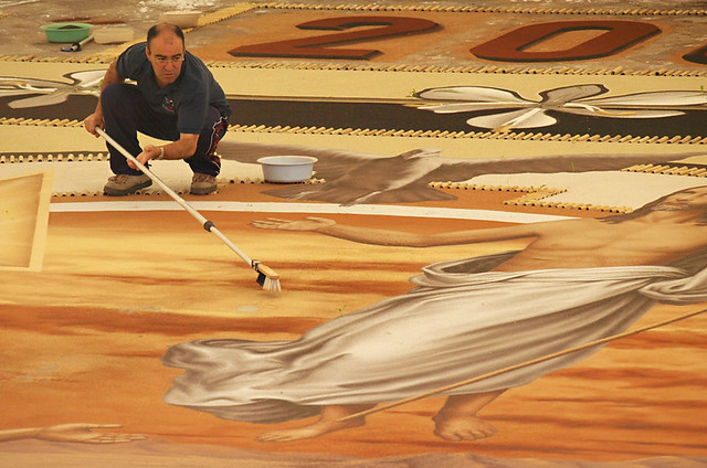 Delicate work, Alfombristas at work, Corpus Christi, La Orotava, Tenerife