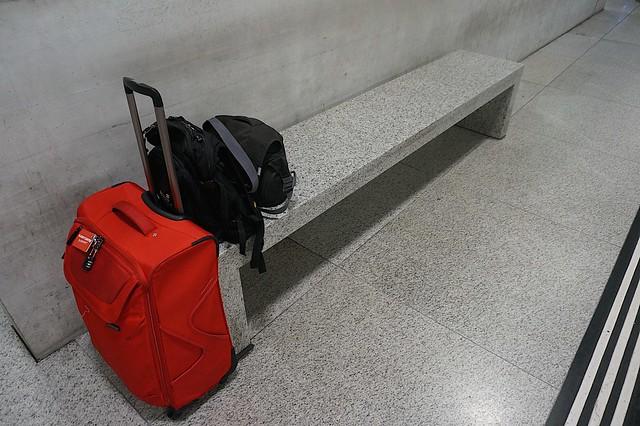 Traveller's bench at the Zurich train station