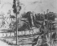 村山槐多「某侯爵邸遠望(某公爵家遠望)」(1919)