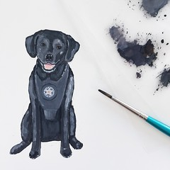 Painted this portrait of Ella today for her retirement party invitation. She's had a 9 year career with the US Marshalls.