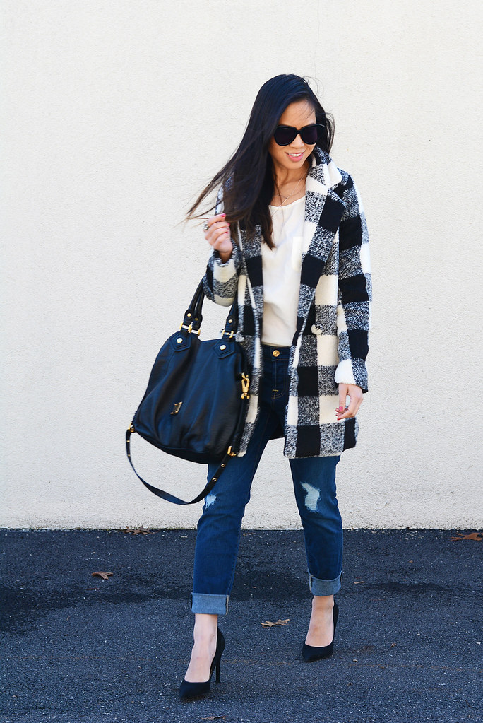 black & white plaid coat/jacket, 7 For All Mankind 7FAM distressed Josefina boyfriend jeans