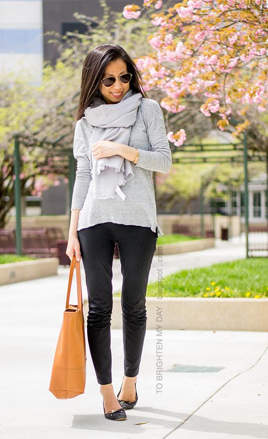 gray scarf, gray tee, cognac brown tote