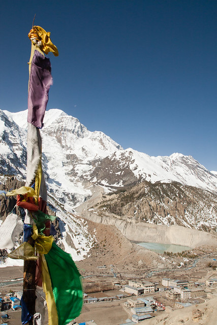 Prayer flags and mountain
