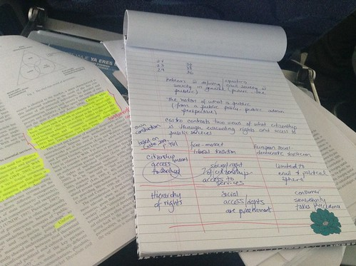 AcWri handwritten notes and journal article reading