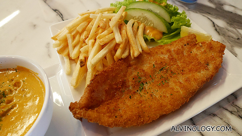 Old Fashioned Fish and Chip with tom yum sauce - S$16.90