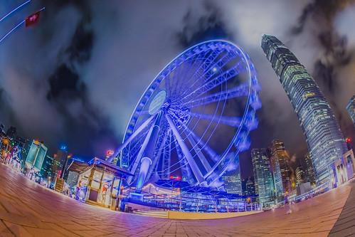 night hongkong fisheye ferriswheel thehongkongobservationwheel