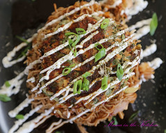 Vegan Modan-Yaki: Yakisoba topped with Veggie Filled Okonomiyaki (Japanese Savoury Pancakes)