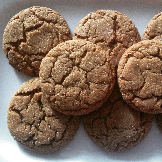 Spicy and glittery Soft Mosasses Cookies. Recipe from the Baker's Companion. @kingarthurflour