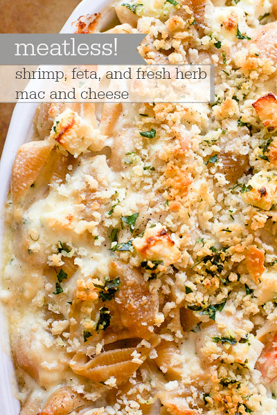 Shrimp Feta Fresh Herb Mac and Cheese
