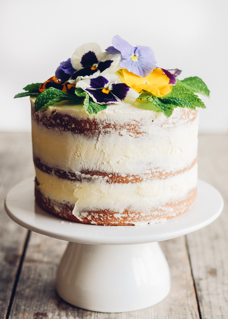 Triple Lemon Naked Layer Cake with Edible Flowers - Buttered Side Up