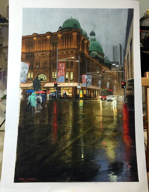 Watercolour painting of QVB by Mike Lamble  6
