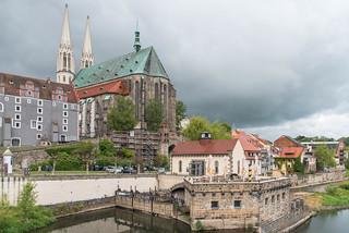 Blick von Altstadtbrücke - Pfarrkirche St. Peter und Paul, Vierradenmühle, Waidhaus