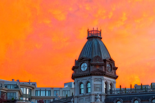 sunset sky orange cloud architecture montreal