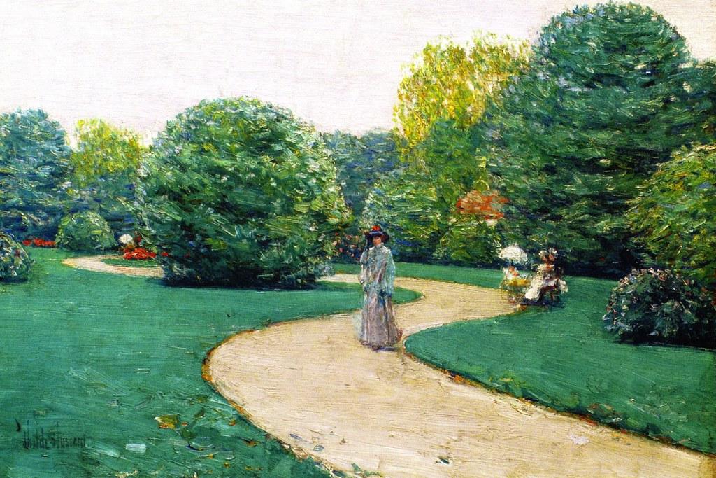 Parc Monceau, Paris by Frederick Childe Hassam - circa 1887-1895